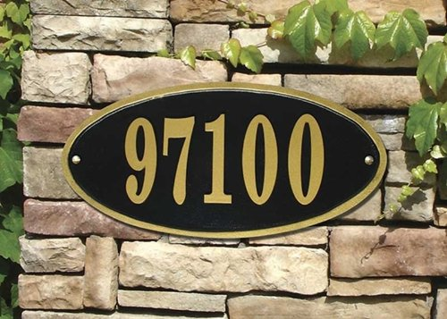 Claremont Oval Cast Aluminum Address Plaque, Black w/Gold Border