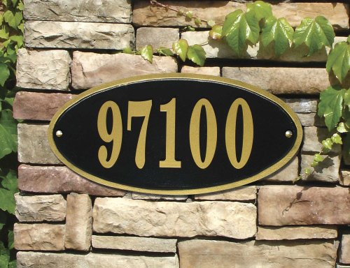 Claremont Oval Cast Aluminum Address Plaque, Bronze w/Gold Border