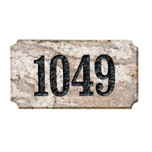 "Solid Granite Address Plaque Executive ""Cut Corner"" Rectangle Five Color Natural"