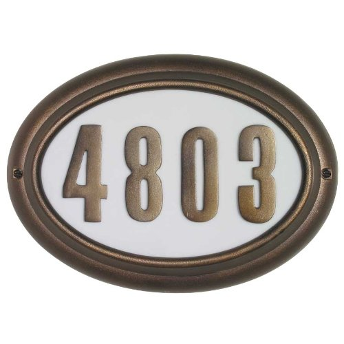 Edgewood Oval Lighted Address Plaque, French Bronze