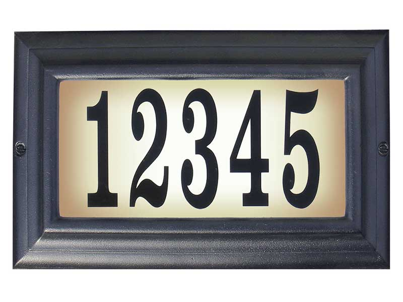 Edgewood Standard Lighted Address Plaque, Black