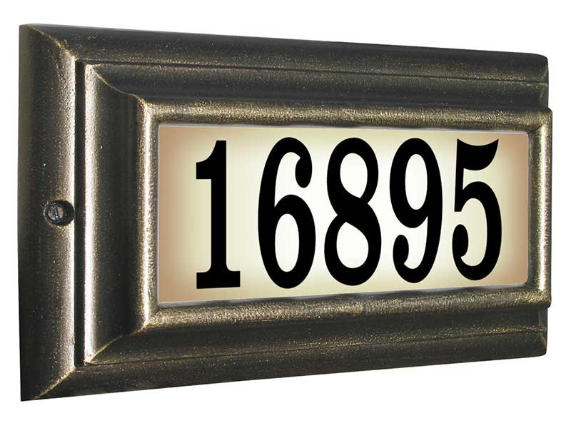 Edgewood Standard Lighted Address Plaque, French Bronze
