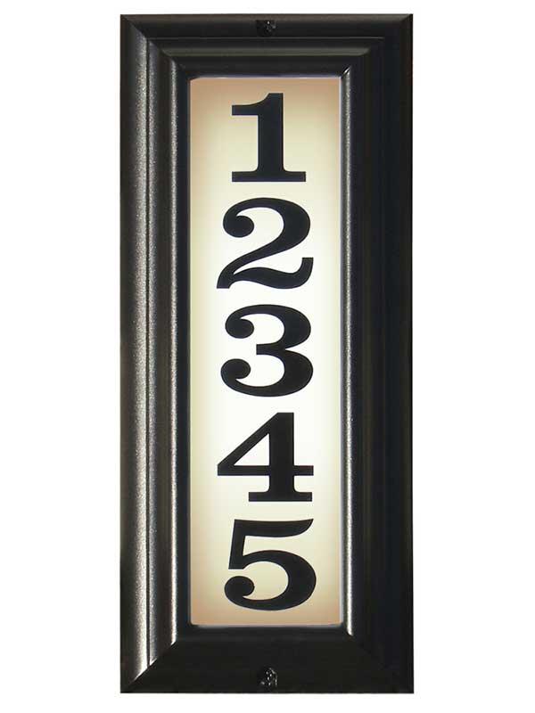 Edgewood Vertical Lighted Address Plaque, Black