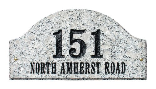 Solid Granite Address Plaque, Ridgecrest Arch, White Granite Natural