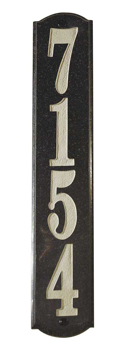 Solid Granite Address Plaque, Wexford Vertical, Black Polished