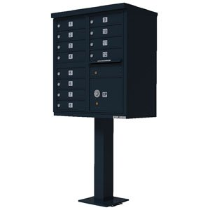 12 Door Cluster Box Unit for Tall Pedestal Stucco Columns, Black