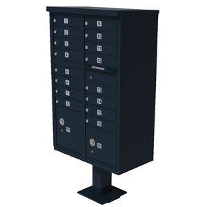 16 Door Cluster Box Unit for Tall Pedestal Stucco Columns, Black