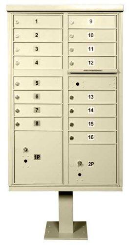 16 Door Cluster Box Unit for Tall Pedestal Stucco Columns, Sandstone