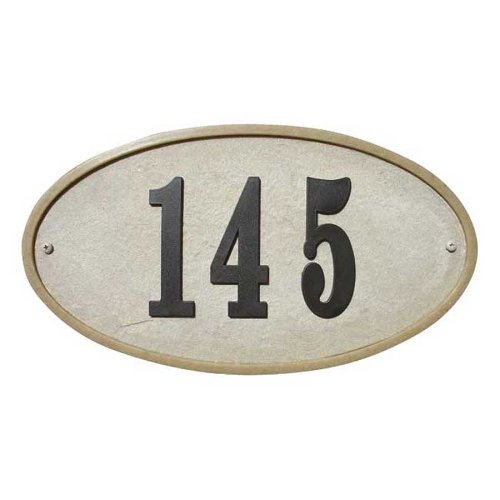 "Ridgestone Crushed Stone Address Plaque ""Do it yourself kit"", Oval Sandstone"