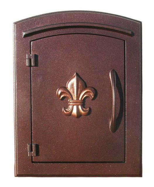 Manchester Mailbox, Fleur De Lis Door, Antique Copper