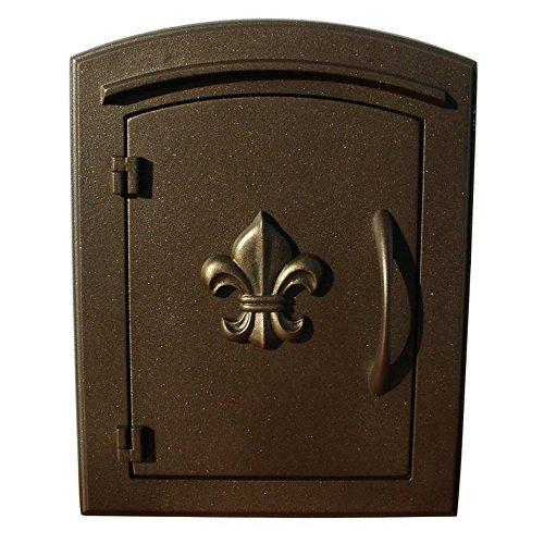 Manchester Mailbox, Fleur De Lis Door, Bronze