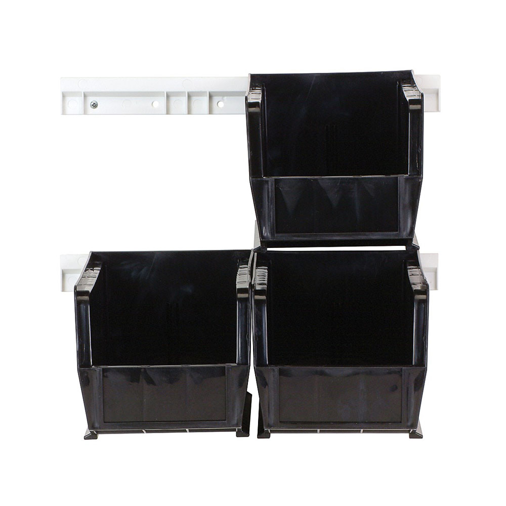 HNS230 Clear-View Hang-And-Stack Bin Complete Package Black - 1 Set