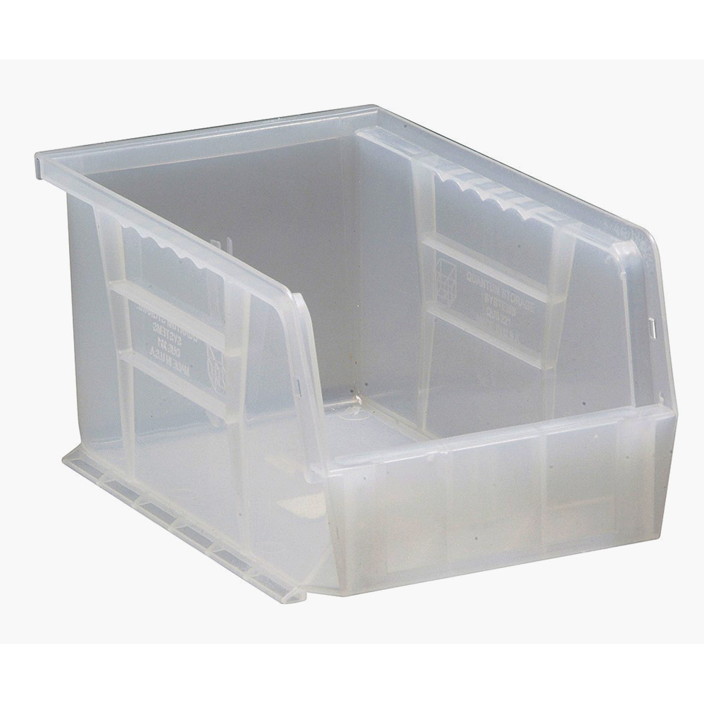 """Quantum Plastic Storage Clear-View Ultra Hang and Stack Bin 9-1/4"""" x 6"""" x 5"""" - Pack of 12"""