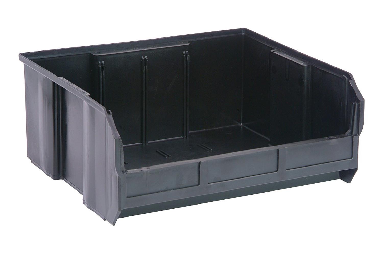 "Quantum QUS250 Plastic Storage Stack And Hang Bin 14-3/4"" x 16-1/2"" x 7"", Black - Pack of 6"