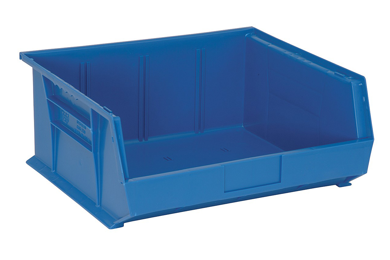 "Quantum QUS250 Plastic Storage Stack And Hang Bin 14-3/4"" x 16-1/2"" x 7"", Blue - Pack of 6"
