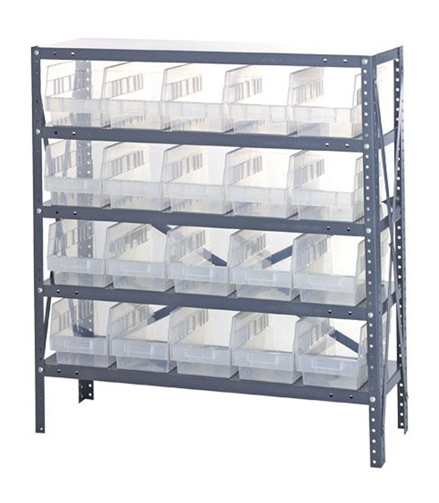 "1839-204CL Clear-View Quantum 6"" Store-More Shelf Bin Units - 18"" X 36"" X 39"""