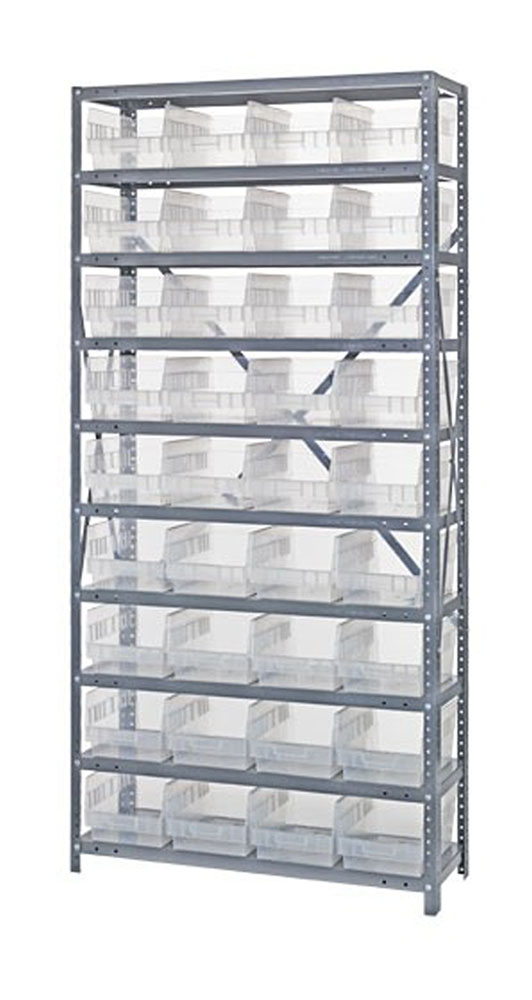 "1875-208CL Clear-View Quantum 6"" Store-More Shelf Bin Units - 18"" X 36"" X 75"""
