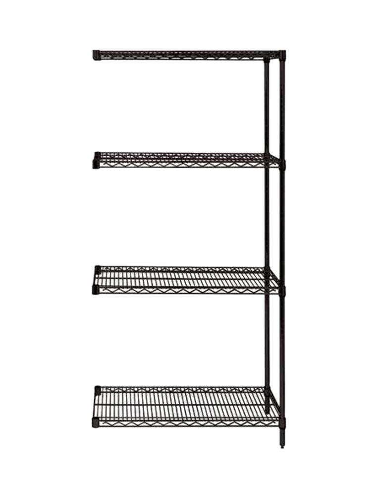 "Quantum Wire Shelving 4-Shelf Add-on Unit - 24"" x 60"" x 74"" - Black"