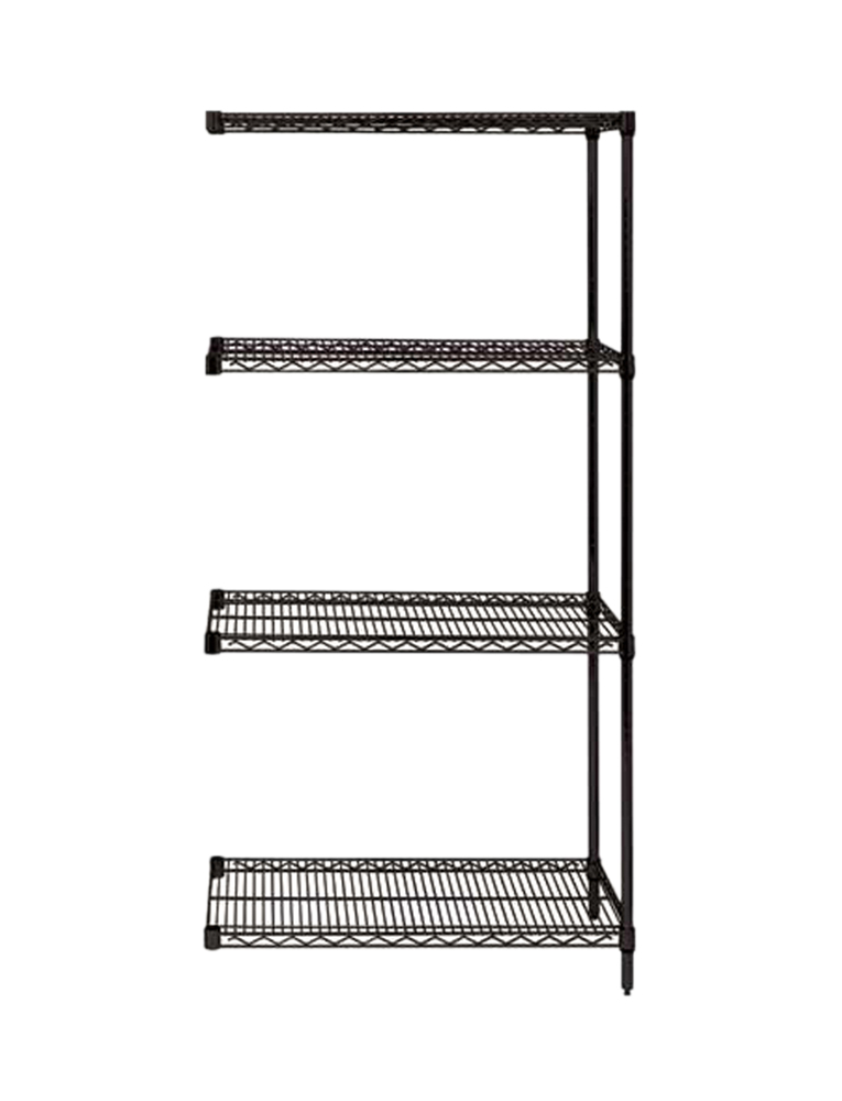 "Quantum Wire Shelving 4-Shelf Add-on Unit - 24"" x 72"" x 86"" - Black"