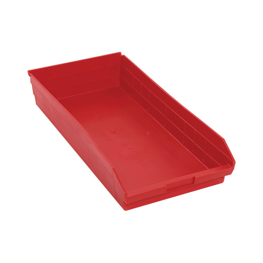 "Economy Shelf Bin 23-5/8""Lx 11-1/8""W x 4""H Red Pack of 6"