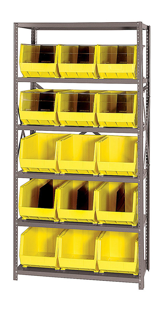"18""D - 6 Shelf Giant Open Hopper Storage Unit Yellow"