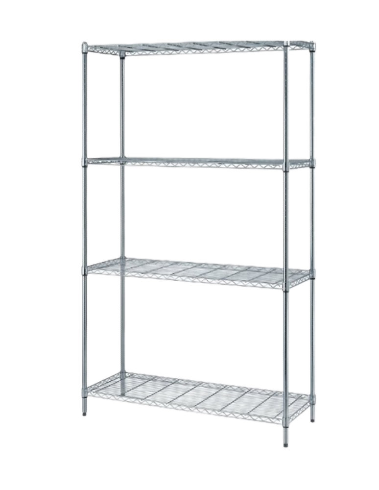 "Quantum 1 Box Wire Shelving 4-Shelf Unit - Chrome - 24""W X 36""L"