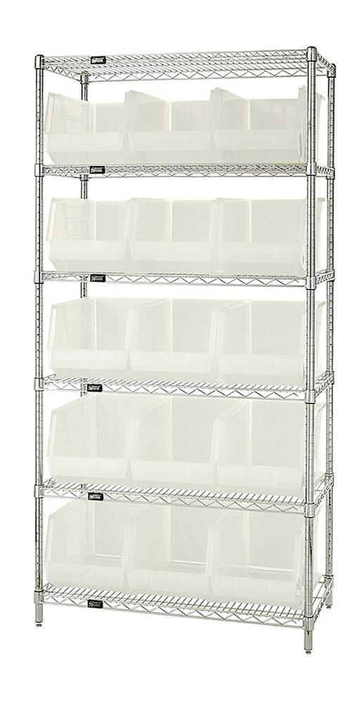 "Wire Shelving Units Complete With Clear-View Ultra Bins - 18""W X 36""L X 74""H, 6 Shelf Unit - 15 Bins"