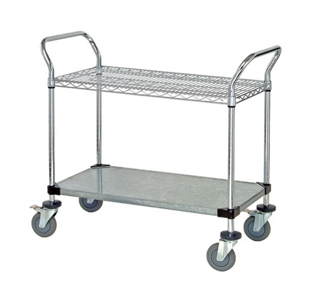 1 Wire Shelf & 1 Solid Shelf Mobile Utility Cart 18