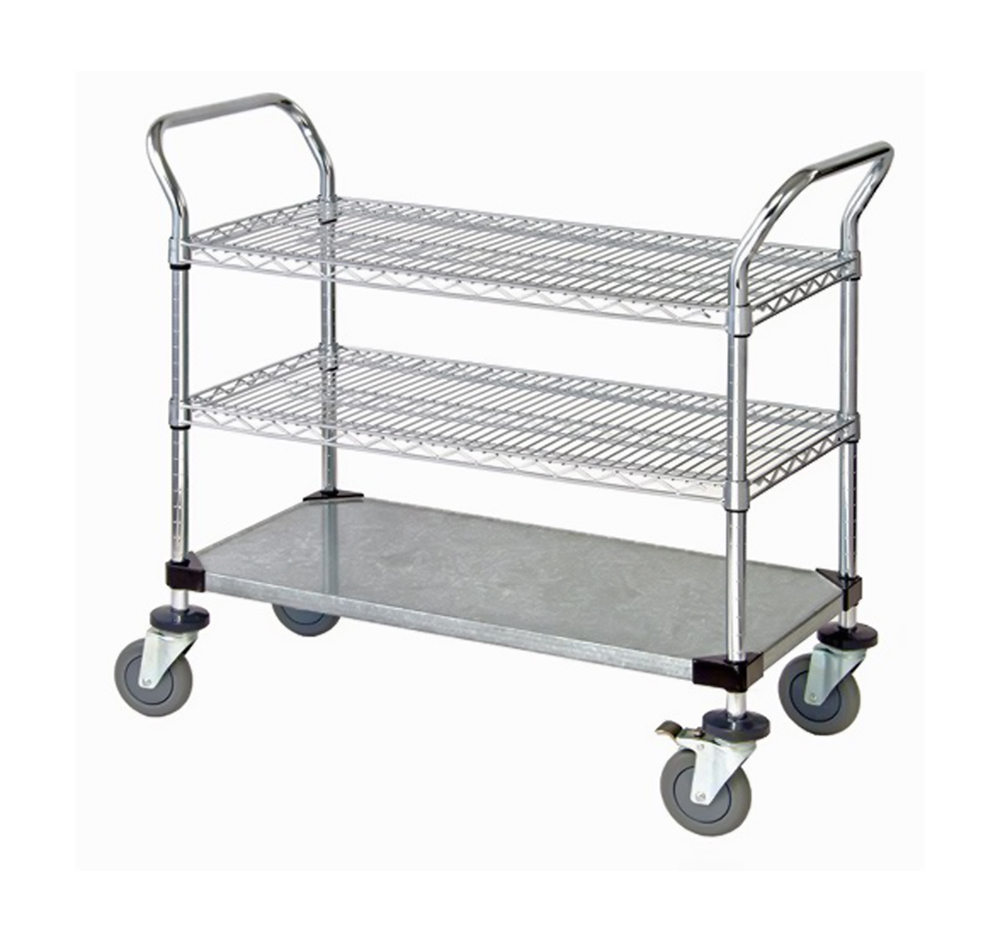 "2 Wire Shelf & 1 Solid Shelf Mobile Utility Cart 18""W x 36""L x 37-1/2""H"