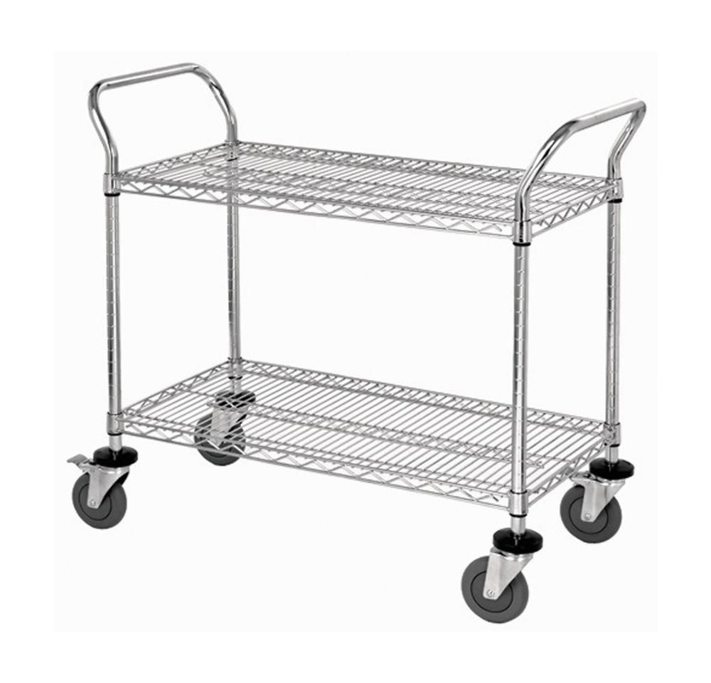 """2 Wire Shelf Mobile Utility Cart - Chrome 18""""W x 42""""L x 37-1/2""""H"""