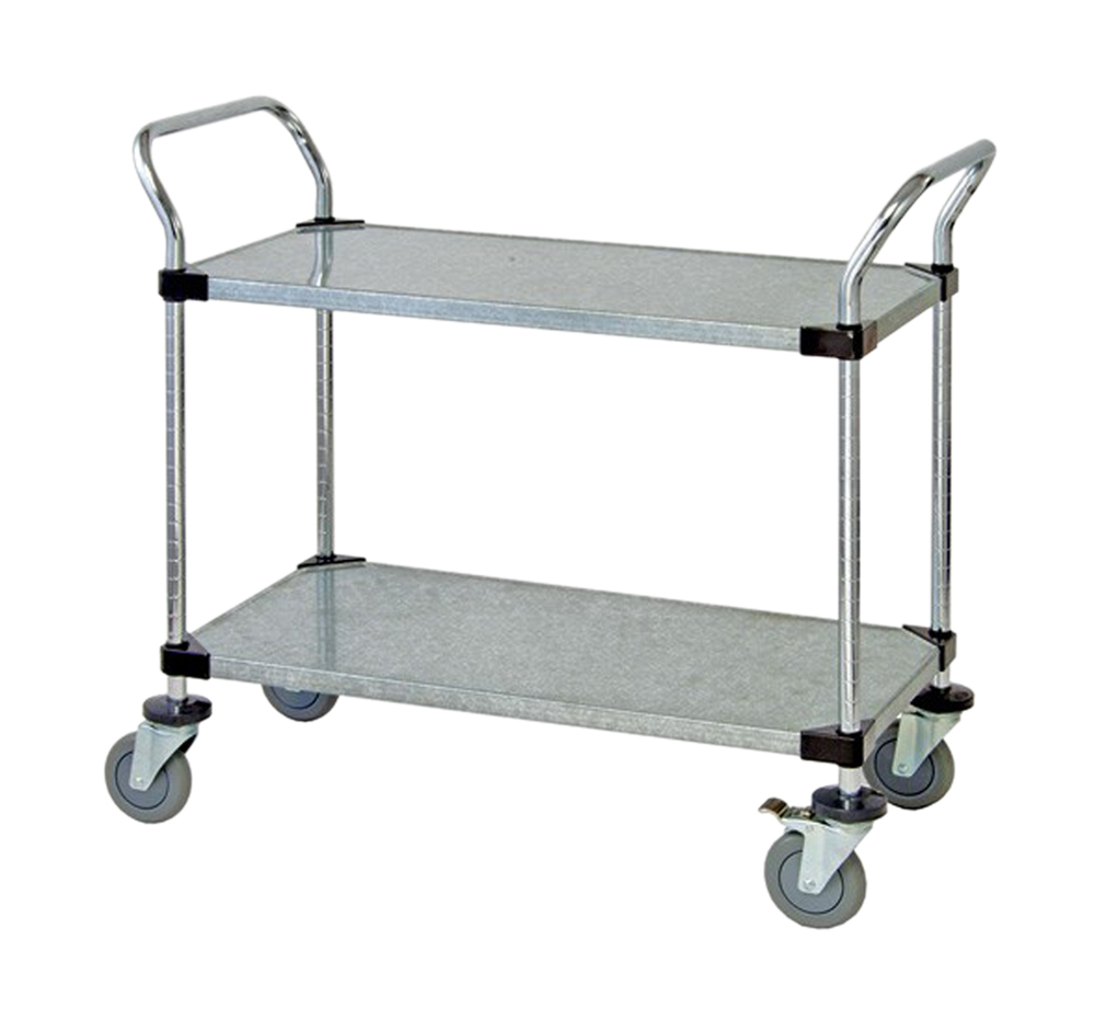 "2 Solid Shelf Mobile Utility Cart 18""W x 48""L x 37-1/2""H"
