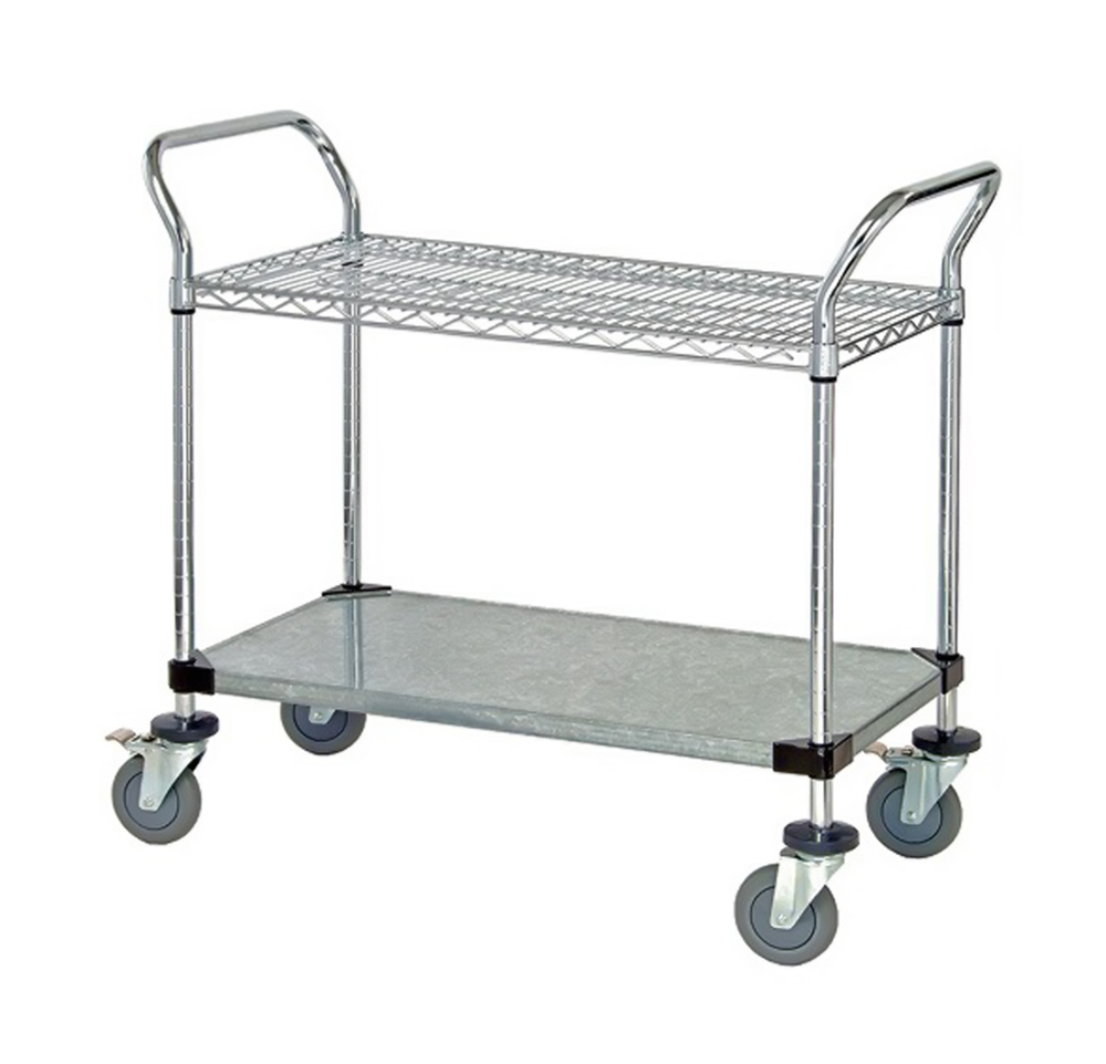 "1 Wire Shelf & 1 Solid Shelf Mobile Utility Cart 24""W x 36""L x 37-1/2""H"