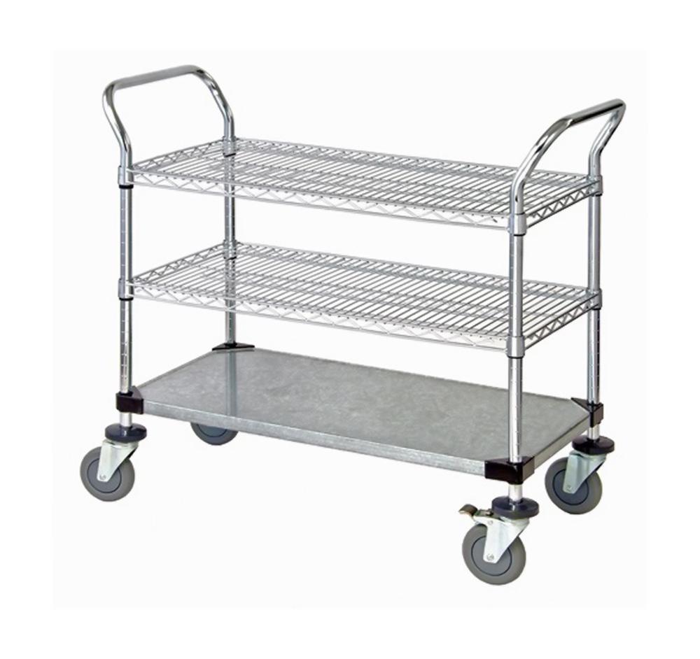 """2 Wire Shelf & 1 Solid Shelf Mobile Utility Cart 24""""W x 36""""L x 37-1/2""""H"""