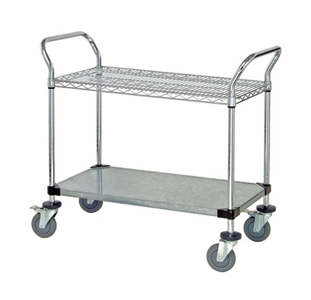 """1 Wire Shelf & 1 Solid Shelf Mobile Utility Cart 24""""W x 42""""L x 37-1/2""""H"""