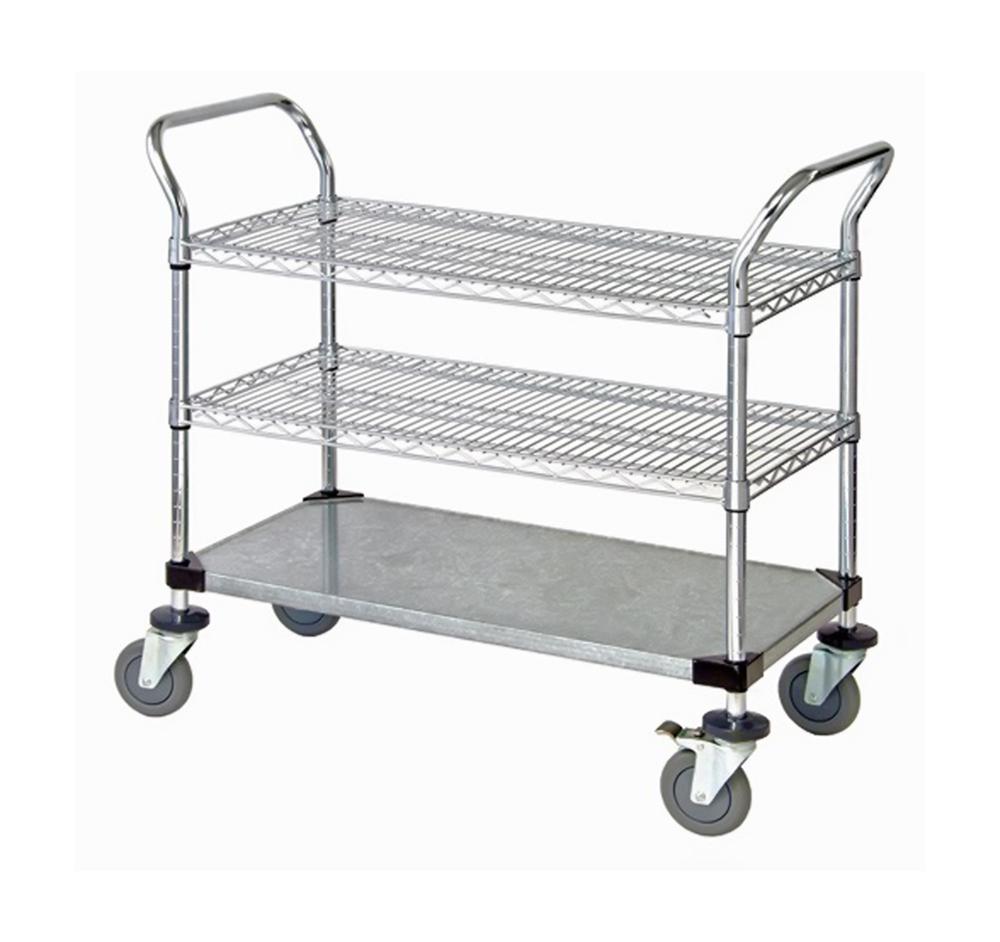"""2 Wire Shelf & 1 Solid Shelf Mobile Utility Cart 24""""W x 42""""L x 37-1/2""""H"""