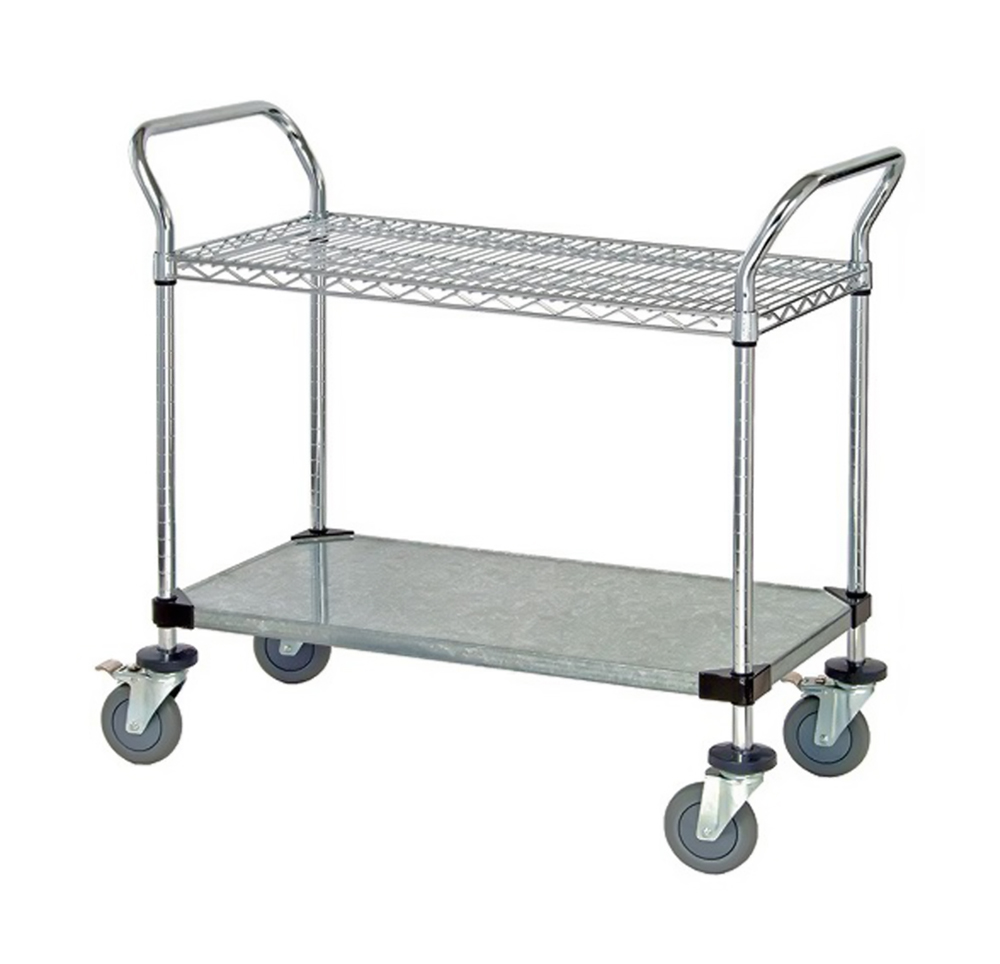 "1 Wire Shelf & 1 Solid Shelf Mobile Utility Cart 24""W x 48""L x 37-1/2""H"