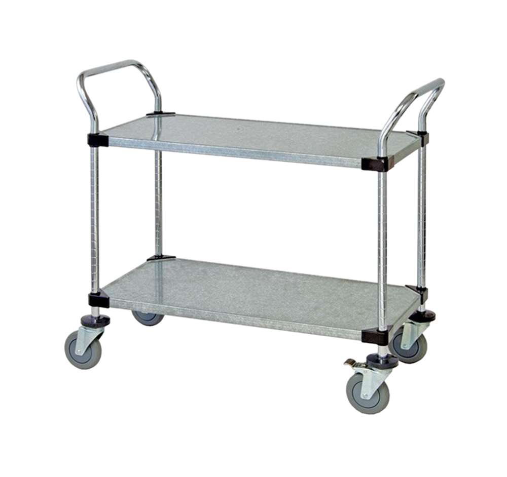 "2 Solid Shelf Mobile Utility Cart 24""W x 48""L x 37-1/2""H"