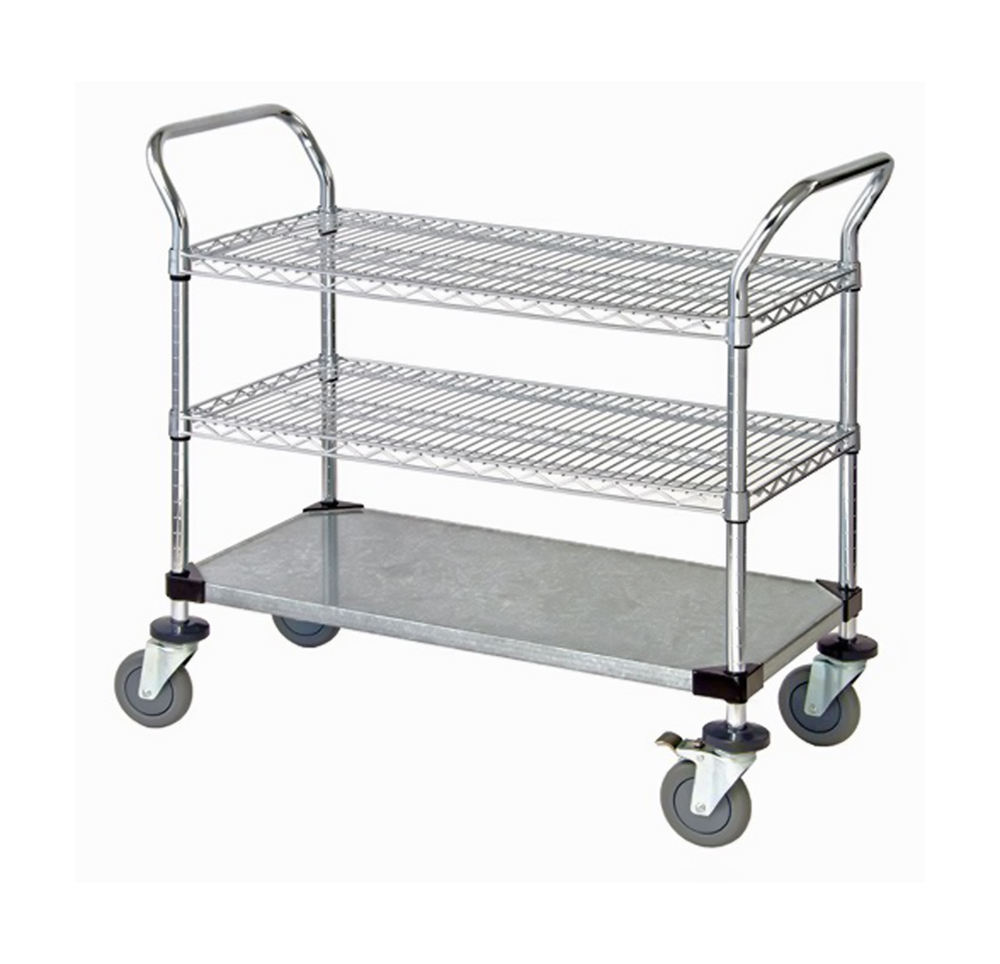 "2 Wire Shelf & 1 Solid Shelf Mobile Utility Cart 24""W x 48""L x 37-1/2""H"