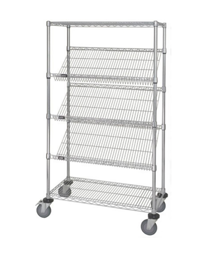 "18"" x 36"" x 69"" Slanted Shelf Cart"