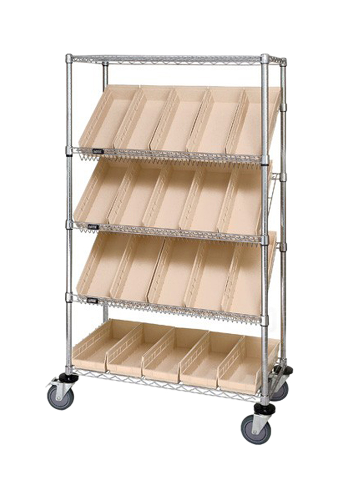 "18"" x 36"" x 69"" Slanted Shelf Cart w/ 20 Bins Ivory"