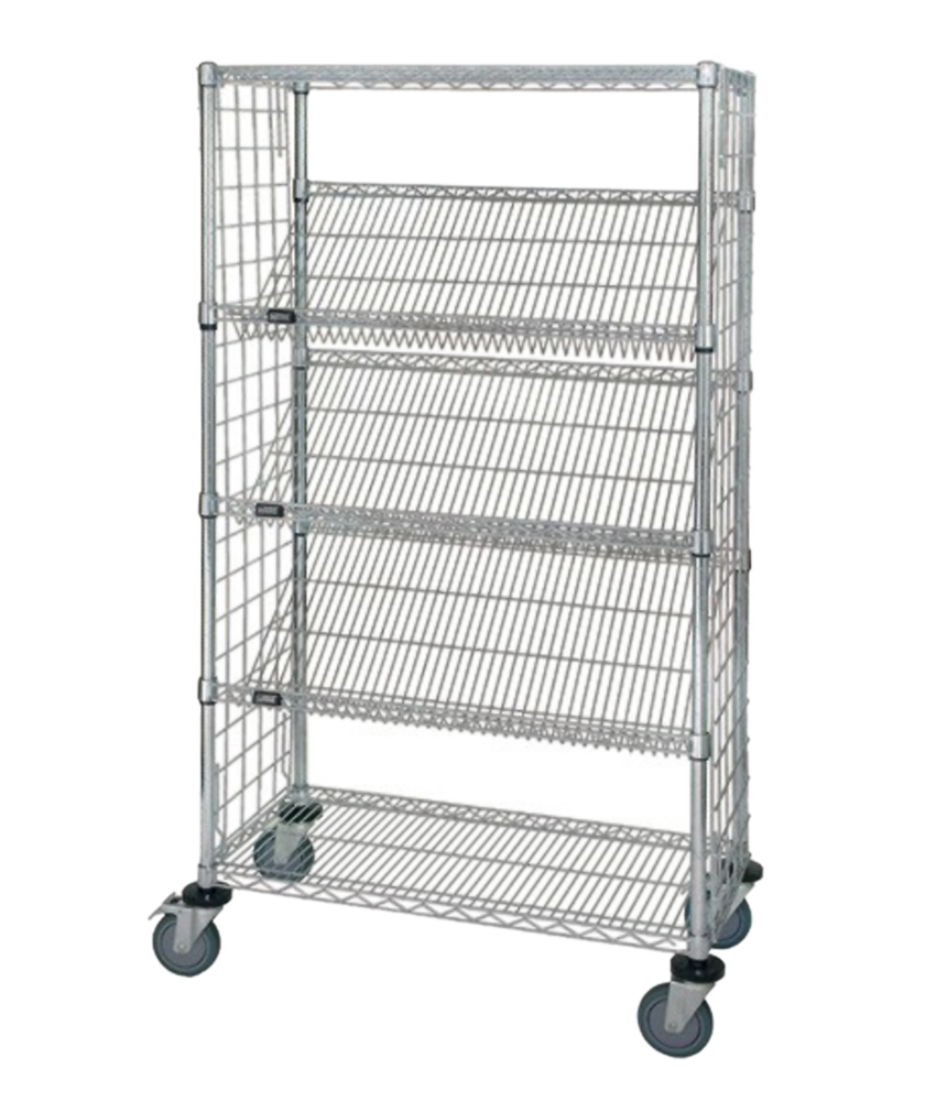 "18"" x 36"" x 69"" Enclosed Slanted Shelf Cart"