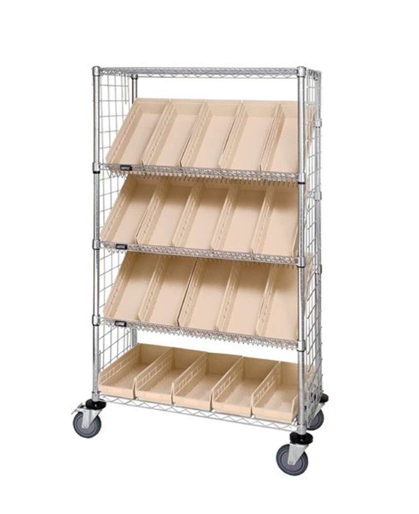 "18"" x 36"" x 69"" Enclosed Slanted Shelf Unit w/ 20 Bins Ivory"