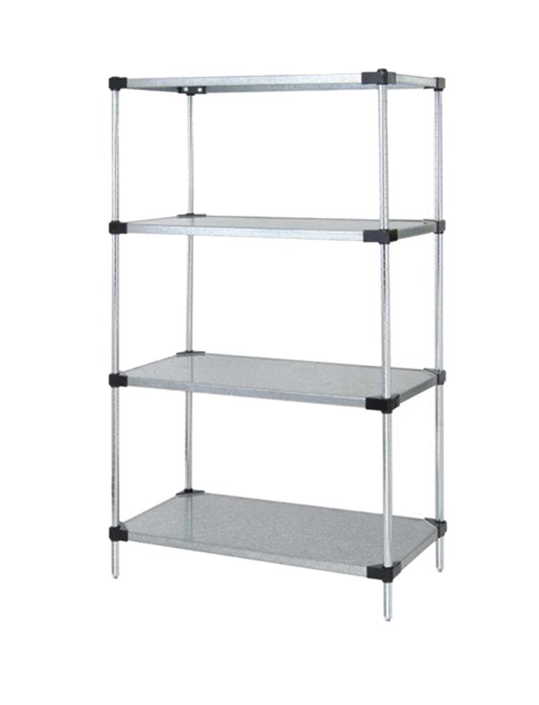 "Quantum Solid Shelving 4-Shelf Starter Units Storage Rack Galvanized Steel 24"" x 24"" x 54"""