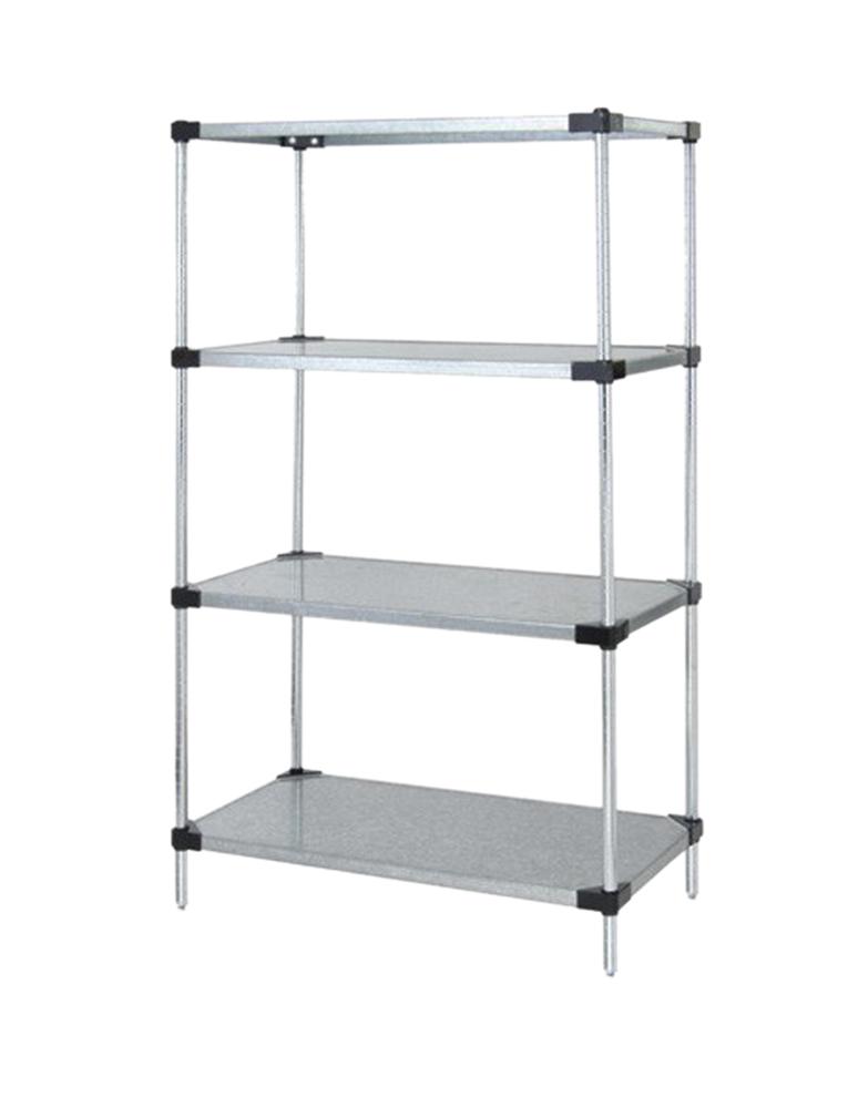 "Quantum Solid Shelving 4-Shelf Starter Units Storage Rack Galvanized Steel 24"" x 72"" x 63"""