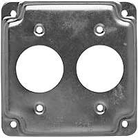 Raco 807C 2-Hole Raised Square Exposed Work Cover, 1-13/32 in Dia x 4 in L x 4 in W x 1/2 in T