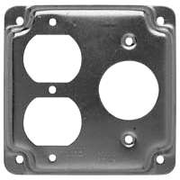 Raco 831C 1-Hole Raised Square Exposed Work Cover, 1.62 in Dia x 4 in L x 4 in W x 1/2 in T, Steel