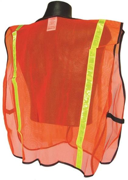 Radwear SV Non-Rated Safety Vest, 2X-Large/5X-Large, 100% Polyester Mesh, Hi-Viz Orange