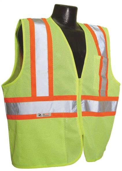 Radwear SV22-2ZGM 2-Tone Economical Safety Vest, Large, Unisex, 100% Polyester Mesh