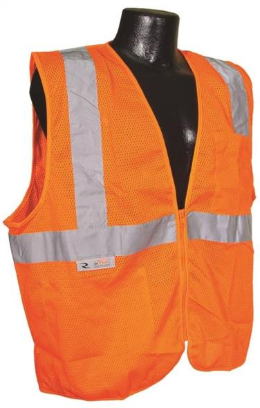 Radwear SV2Z-OM Economical Safety Vest, Large, Unisex, Hi-Viz Orange