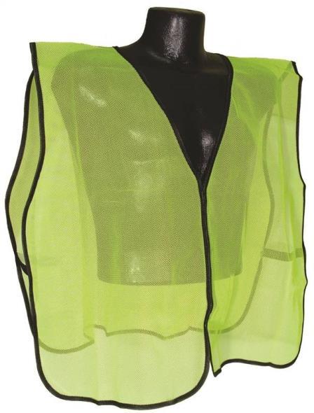 Radwear SV Non-Rated Safety Vest, 100% Polyester Mesh, Hi-Viz Green